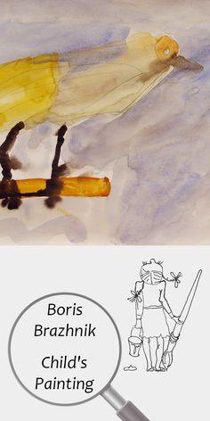 "Boris Brazhnik (4 years) | Child's Painting | Printable | Design | Interior | Instant Download | Digital Image | ""Yellow Bird"" (fragment) Paper Watercolor 20x30cm | Child's Art Drawing Yellow Summer | №B-003 Painting For Kids, Art For Kids, Color Calibration, Printable Designs, 4 Years, Digital Image, Printing Services, My Images, Art Drawings"