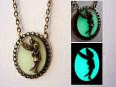 Glow In The Dark Fairy Necklace ~ Fairy Pendant Glows Aqua with Free UV Charging Light