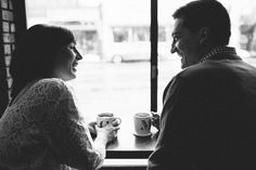 Coffee shop engagements | First Mate Photo Co.