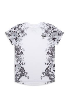 Older Boy White Japanese Floral Tee