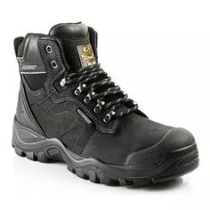 *CLICK TO ENLARGE* Buckler BSH009WPBK Buckshot Black Leather Waterproof Safety Boots (Sizes 6-13 Available)