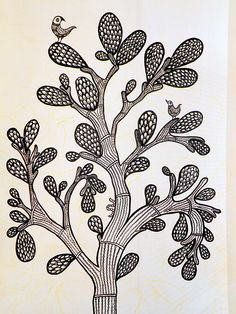 tree silhouette made out of words - Yahoo Search Results Yahoo Image Search Results Indian Art Paintings, Easy Paintings, Mandala Drawing, Mandala Art, Different Types Of Painting, Madhubani Art, Indian Folk Art, Madhubani Painting, Plant Art