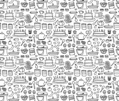 Sketchy Kitchen - Black and White fabric by jesseesuem on Spoonflower - custom fabric $60 roll- cute for rv kitchen