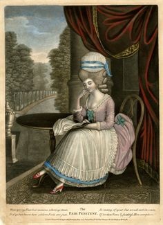 """The Fair Penitent"". A fashionably-dressed young woman sitting to left, her chin on her hand and her elbow on a round table beside her; curtain overhead and a prospect of a formal lake lined with trees in the background. 1781,Hand-coloured mezzotint with some etching."