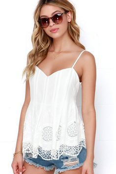Say Pleats Ivory Lace Top at Lulus.com!