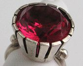 Mid Century Mod Verneuil RUBY Ring Sterling Silver 925 Signed ABC Vintage Taxco Eagle