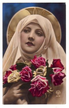 not described but almost certainly meant to be St. Therese of the Little Flower, since this is how she is usually depicted, with roses