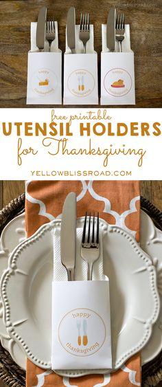 Free Printable Utensil Holders for Thanksgiving