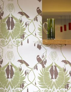 Finches Wallpaper Wallpaper with aubergine birds on branches with