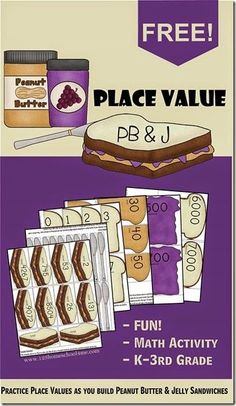 FREE Place Value PB and J Sandwiches. A fun, memorable math activity for Kindergarten, 1st grade, 2nd grade, and 3rd grade kids.