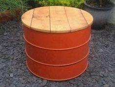 Oil Drum table/stool - sculpture , designer lighting, nick page Oil Barrel, Metal Barrel, Barrel Bbq, Drum Chair, Drum Table, Barrel Projects, Metal Projects, Metal Crafts, Barrel Furniture