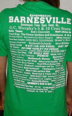 Lady wearing size med. Remembering Barnesville Businesses from Days Gone By... shirt.  2015.  Back of shirt