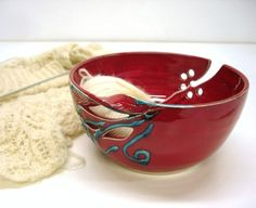 Yarn Bowl in Bright Red Glaze with twisted leaves & flowers designs---so beautiful!