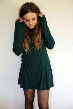 Vestido verde corto, para invierno