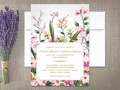 Modern Floral Wedding Invitations by rockpaperdove on Etsy, $45.00