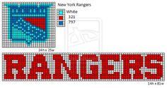 New York Rangers logo and name plate Bead Loom Patterns, Perler Patterns, Cross Stitch Patterns, Plastic Canvas Crafts, Plastic Canvas Patterns, Cross Stitching, Cross Stitch Embroidery, New York Rangers Logo, Sports