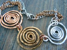 Mixed metal spiral necklace