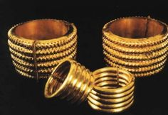 Nimrud Queens' Tombs (Yaba/ Banitu/ Atalia) Gold Anklets/ weigh over a kilogram: Gold Bracelets held together with 2 pins. Neo-Assyrian, excavated in Baghdad Museum