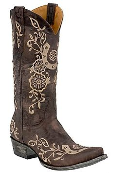 Old Gringo Ladies Chocolate w/ Natural Embroidered Lucky Horseshoe Snip Toe Boot MY NEXT PAIR OF BOOTS.....Love them!!!
