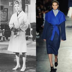 """Audrey Hepburn was a big fan of """"robe"""" coats during her heyday, a dominant trend in Joseph Altuzarra's fall collection.   Read more: http://stylecaster.com/old-hollywood-stars-who-inspired-fall-2014-fashion-trends/#ixzz3B8AXwd6V"""