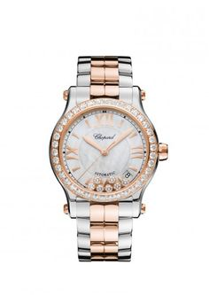 Chopard Watch Happy Sport 36 mm automatic 18k rose gold, stainless steel and diamonds