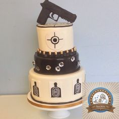 Target Practice Cake With Carved Chocolate Gun