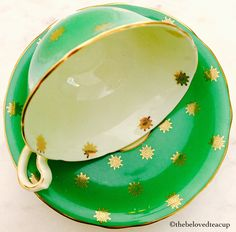 Aynsley Green and Gold Stars Widemouth 1930's Tea Cup and Saucer by TheBelovedTeacup on Etsy https://www.etsy.com/ca/listing/485008747/aynsley-green-and-gold-stars-widemouth