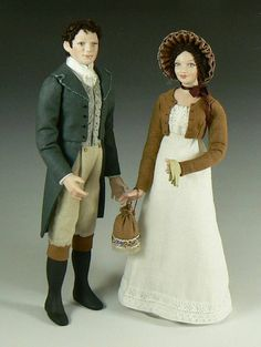 1:12 Scale Dollhouse Dolls - Lizzie Bennet and Mr Darcy from Pride and Prejudice by Debbie Dixon-Paver