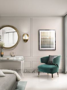 White classic bedroom decoration with IBIS green chair, YORK white luxury console from Boca do Lobo. A midcentury wall round flat mirror to complete all the decoration.