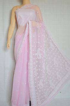 Pink Hand Embroidered Work Lucknowi Chikankari Saree (With Blouse - Georgette)- MC60013