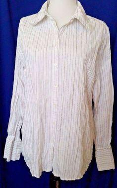 Anxiety Button down Shirt Striped White Silver Crinkle Womens Juniors sz XL #Anxiety #ButtonDownShirt #Clubwear