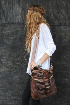 leather bag via copeleyreilly: forever loving beach curls