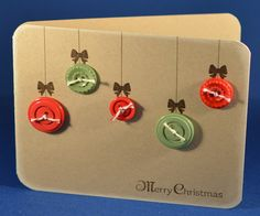 Hofkissed: Button Ornaments. Joyous Celebrations (bow), Open Sleigh (sentiment). Button Ornaments, Joyous Celebration, Christmas Cards, Christmas Decorations, Button Art, Winter Cards, Cool Cards, Scrapbooking Ideas, Homemade Cards