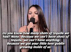 """Mila Kunis Gives A PSA On Men Saying """"We're Pregnant"""""""