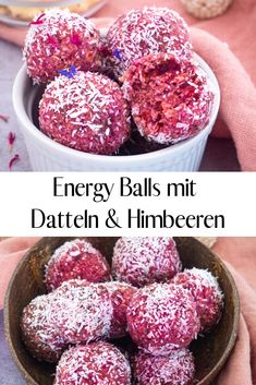 Energy Balls mit Datteln und Himbeeren Is snacking healthy? These energy balls with dates and raspberries are not only delicious, they are also filling and a great snack to go. The recipe is very easy and quick to make with just 6 ingredients! Healthy Desserts, Dessert Recipes, Raspberry Recipes Healthy, Dessert Dips, Recipes Dinner, Pasta Recipes, Healthy Foods, Crockpot Recipes, Soup Recipes
