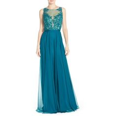 La Femme Embellished Lace & Chiffon Gown ($479) ❤ liked on Polyvore featuring dresses, gowns, evergreen, blue lace dress, blue sleeveless dress, blue ball gown, blue evening dresses and lace evening dress