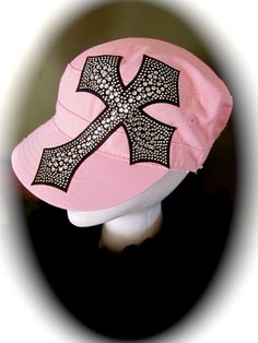 Light Pink Cadet Cap with Rhinestone Cross $25 Become a Fan on FB LuckyOneJewelry