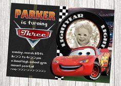 Lightning McQueen Disney Cars Birthday Invitation -