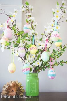 Make a simple and beautiful Easter Egg Tree. More Spring & Easter Home Decor Ideas on Frugal Coupon Living.