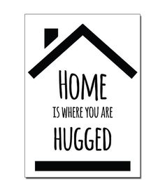 Postcard Home is.. Ansichtkaart met tekst Home is.. in zwart wit formaat A6 door Zoedt