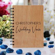 Personalised Wedding Vows Journal - Wooden Notebook - Large / Okoume