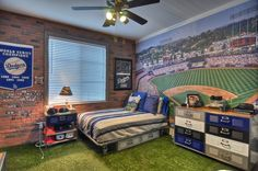 This is awesome Baseball Fan! Turf Grass For Carpet, Dodger Stadium In The Background & Faux-Brick Walls! Boys Baseball Bedroom, Baseball Room Decor, Baseball Mom, Baseball Birthday, Baseball Boyfriend, Baseball Nails, Baseball Cookies, Baseball Crafts, Angels Baseball