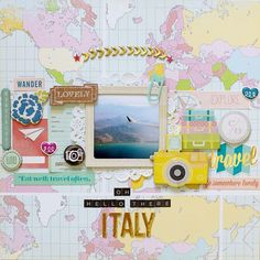 Oh Hello There Italy by at Studio_Calico Travel Scrapbook Pages, Scrapbook Journal, Scrapbook Page Layouts, Baby Scrapbook, Scrapbook Paper Crafts, Scrapbook Albums, Scrapbook Cards, Vacation Scrapbook, Scrapbooking Ideas