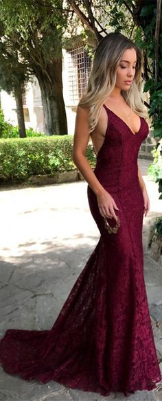 Glamorous Maroon V Neck Lace 2018 Evening Dress Mermaid Long On Sale From 27dress.com.