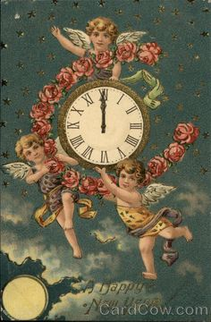 Vintage happy new year postcard! Happy New Year Message, Happy New Year Cards, Happy New Year 2019, New Year Wishes, New Year Greetings, Victorian Christmas, Vintage Christmas Cards, Victorian Angels, Victorian Art