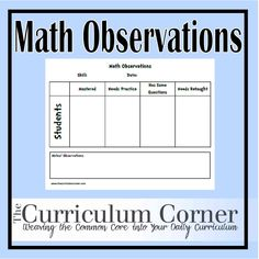 Math Observations - use on magnetic board and name tag magnets and use to differentiate groups