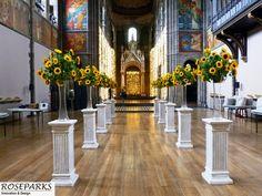 Daniela & Greig's Wedding - Sunflower aisle at Mansfield Traquair Edinburgh