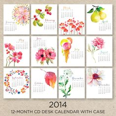 PIPER 2014 Desk Calendar with CD case by doublebuttons on Etsy