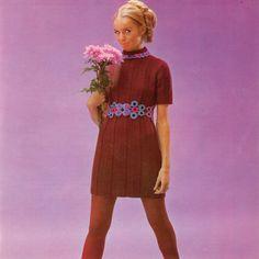 Dress with Daisy Belt Knit Dress Crochet Belt Vintage