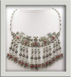 Antique Persian silver fringe necklace